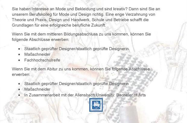abb6410b750b71 Dreijähriges Berufskolleg für Mode und Design.   Überblick. Hier gelangen  Sie zur Allensbach University.